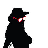 Girl with sunglasses silhouette vector Royalty Free Stock Photography