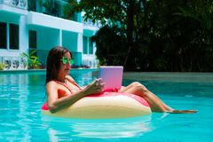 Girl in sunglasses sits on an inflatable circle in the pool with a pink laptop.  stock photos