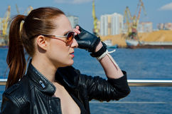 The girl in sunglasses Stock Image