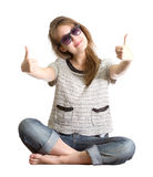Girl sunglasses success isolated white Stock Image
