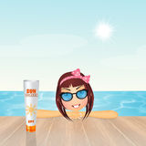 Girl with sunscreen Stock Photo