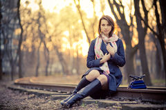 A girl at sunset Royalty Free Stock Photography
