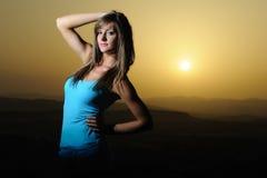 Girl at sunset Stock Photo