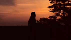 Girl at sunset dancing energetically. Girl with long dark hair dancing in the evening at sunset, raises his hands up against the sky, trees stock video footage