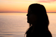 Girl in Sunset Royalty Free Stock Photo