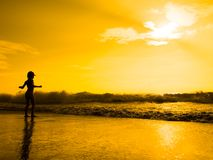 Girl at the sunset Stock Photography
