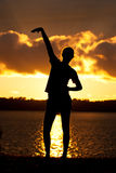 Girl Sunset Silhouette Pose Stock Photos
