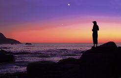 Girl at sunset - soft Royalty Free Stock Photo