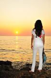 Girl at sunset time Stock Photo