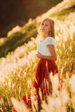 Girl at sunset Royalty Free Stock Image