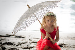 Girl with sunshade Royalty Free Stock Image