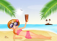 Girl with suntan oil. Illustration of girl with suntan oil Royalty Free Stock Photography