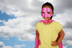Girl Super Hero. Girl who is dressed up as a super hero stock photography