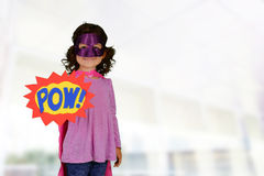 Girl Super Hero. Girl who is dressed up as a super hero stock photo