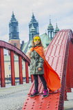 Girl in superhero costume Royalty Free Stock Photography