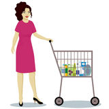 Girl with supermarket trolley full. Vector Stock Images
