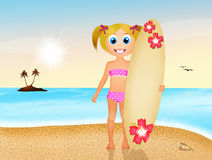 Girl with surf on the beach Royalty Free Stock Photography