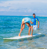 Girl with surf Royalty Free Stock Photo