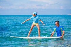 Girl with surf Royalty Free Stock Image