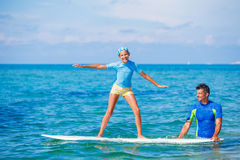 Girl with surf Royalty Free Stock Photography