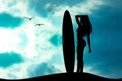 Girl with surf. Illustration of girl with surf Royalty Free Stock Photos