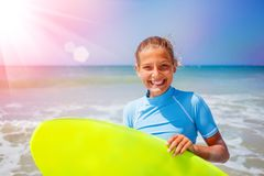 Girl with surf Royalty Free Stock Photos