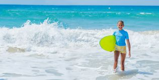 Girl with surf Stock Photo