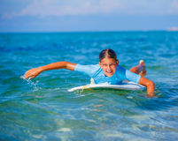 Girl with surf Stock Photography