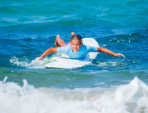 Girl with surf Royalty Free Stock Images