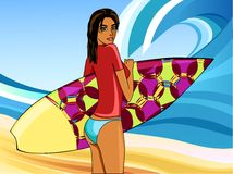 A girl with a surfboard Stock Photography