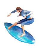 The girl on surfboard, watercolor illustration isolated on white. Royalty Free Stock Photos