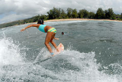 Girl surfer royalty free stock images