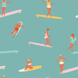 Girl surfer in bikini seamless pattern in vector. Flat style illustration. Summer beach surfing . Royalty Free Stock Photography