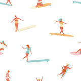 Girl surfer in bikini seamless pattern in vector. Flat style illustration. Summer beach surfing . Stock Image