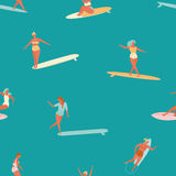 Girl surfer in bikini seamless pattern in vector. Flat style illustration. Summer beach surfing . Stock Photography