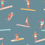 Girl surfer in bikini seamless pattern in vector. Flat style illustration. Summer beach surfing . Stock Images