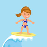 Girl surfer rides the waves. Concept design of a summer holidays by the ocean Stock Image