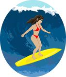 Girl surfer on a wave Stock Images