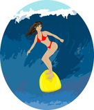 Girl surfer on a wave Royalty Free Stock Images