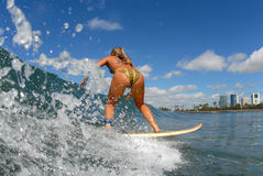 A girl Surfing. A surfer girl in bikini surfing Stock Images