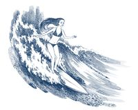 Girl surfing. Young girl surfing on the wave Stock Photography