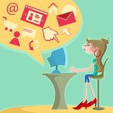 Girl surfing internet on computer. Sitting on chair Royalty Free Stock Image