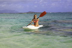 Girl with surfski Royalty Free Stock Images