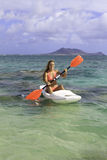 Girl with surfski Stock Image