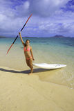 Girl with surfski Royalty Free Stock Photography