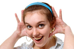 Girl in surprise on face. Young girl in surprise on face on a white background Stock Photography