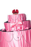 Girl, a surprise gift, looks out a toy cake Stock Photo
