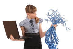 Girl with surprise holds the big sheaf of network cables RJ45 Stock Photos