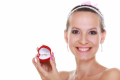Girl with surprise looks at box with wedding ring, Stock Image
