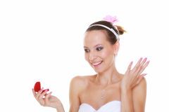 Girl with surprise looks at box with wedding ring, isolated Royalty Free Stock Photos
